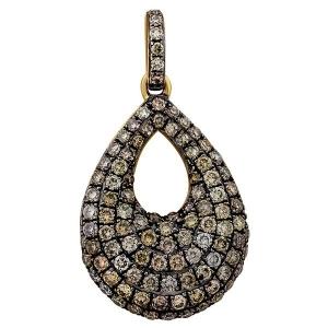 Подвеска-кулон из золота с коричневыми бриллиантами