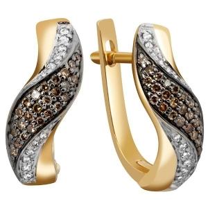 Серьги из жёлтого золота с бриллиантами