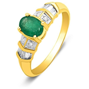 Кольцо из жёлтого золота с бриллиантами и изумрудом