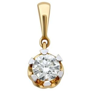 Подвеска-кулон из комбинированного золота с бриллиантом