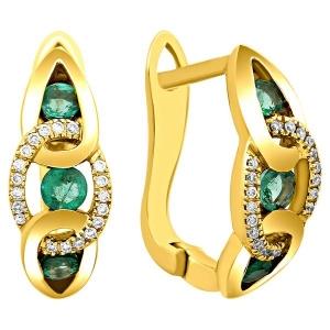 Серьги из жёлтого золота с бриллиантами и изумрудами