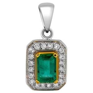 Подвеска-кулон из белого золота с бриллиантами и изумрудом