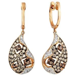 Серьги с белыми, коричневыми бриллиантами и раухтопазами