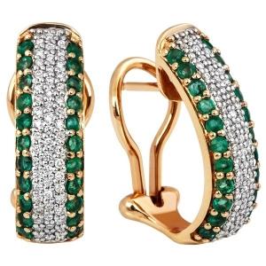 Серьги с изумрудами и бриллиантами из комбинированного золота
