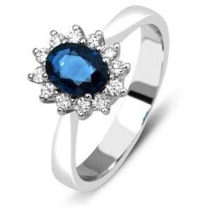 Кольцо с сапфиром и бриллиантами из белого золота