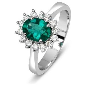 Кольцо с изумрудом и бриллиантами из белого золота