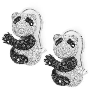 Серьги с черными бриллиантами Панда