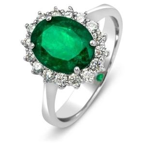 Кольцо с бриллиантами и изумрудом из белого золота
