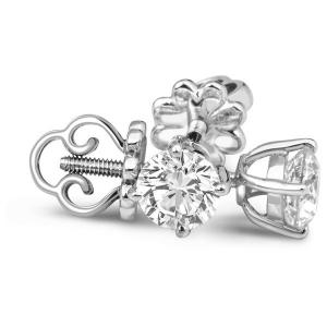 Серьги пусеты с бриллиантами из белого золота