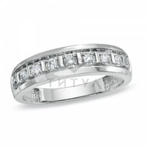 Мужское кольцо из белого золота с бриллиантом
