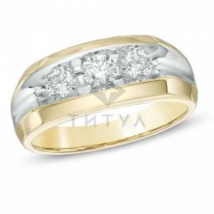 Мужское кольцо из желтого золота с бриллиантом