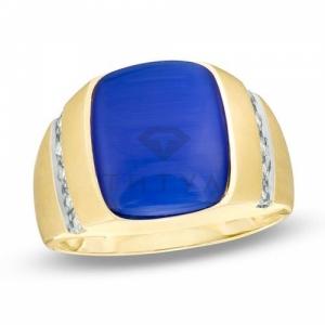 Мужское кольцо из желтого золота с кошачьим глазом  и бриллиантом