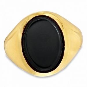 Мужское кольцо из желтого золота с ониксом