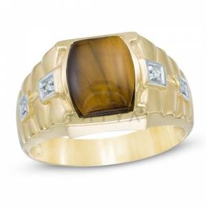 Мужское кольцо из желтого золота с тигровым глазом и бриллиантом
