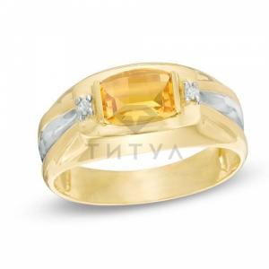 Мужское кольцо из желтого золота с цитрином и бриллиантом