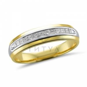 Мужское кольцо из комбинированного золота с бриллиантом