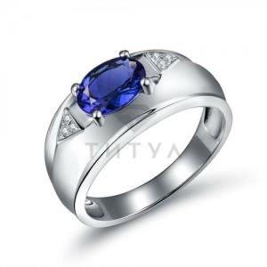 Мужское кольцо из белого золота с танзанитом, бриллиантами